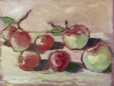 red apples, oil on board, 10 x 8 inches £160