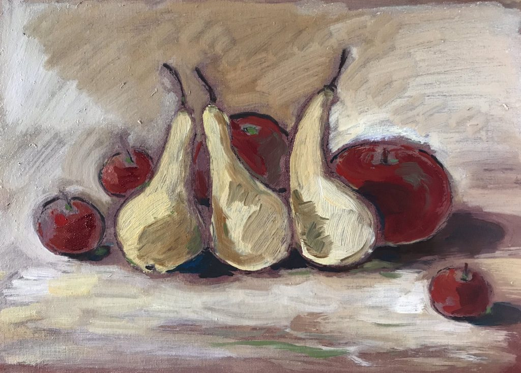Pears, apples on canvas board 14 x 10 inches